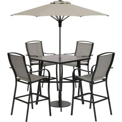 Foxhill 5-Piece Aluminum Counter-Height Commercial-Grade Outdoor Dining Set with Umbrella