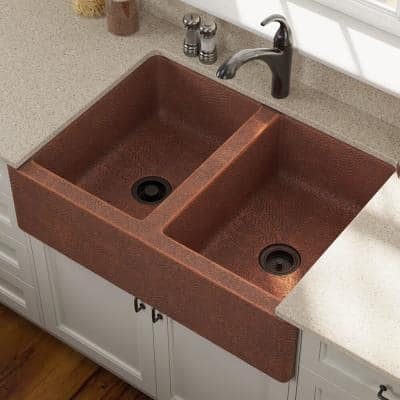 Farmhouse Apron Front Copper 35 in. Double Bowl Kitchen Sink with Strainer and Flange