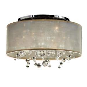 Silhouette 21 in. 5-Light W Taupe Drum Shaded Beaded Crystal and Chrome Flush Mount