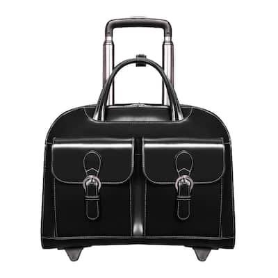 McKlein Davis 15 in. Black Top Grain Cowhide Leather Wheeled Ladies' Laptop Briefcase