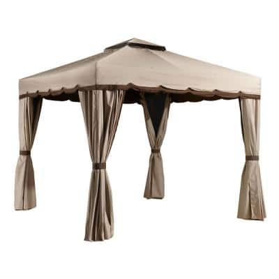 10 ft. D x 12 ft. W Roma Aluminum Gazebo with Polyester Roof, 2-Pole System, and Nylon Mosquito Netting