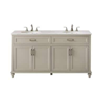 Charleston 61 in. W x 22 in. D Double Bath Vanity in Grey with Natural Marble Vanity Top in White