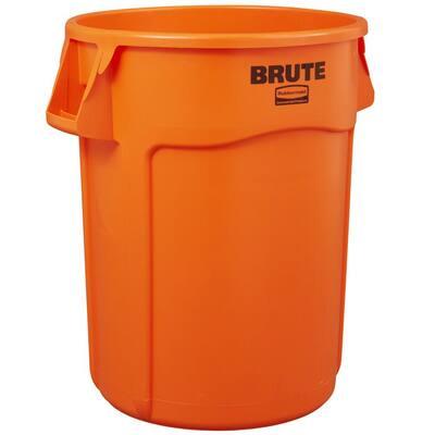 Brute 44 Gal. Orange Round Vented Trash Can (2-Pack)