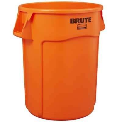 Brute 44 Gal. Orange Round Vented Trash Can (1-Pack)