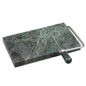 Natural Green Marble Stone 5 in. L x 8 in. W Cheese Slicer, Butter Cutter with Replacement Wire