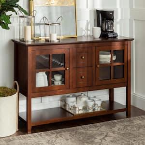 52'' Transitional Wood Glass TV Stand Buffet - Walnut