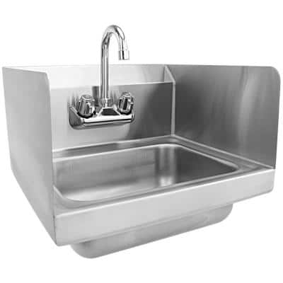 17 in. Wall Mount Stainless Steel 1-Compartment Commercial Hand Wash Sink with Built-In Backsplash and Faucet