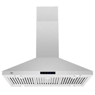 36 in. 860 CFM Ducted Island Range Hood in Stainless Steel with Baffle Filters, LED Lights, Touch Screen Control