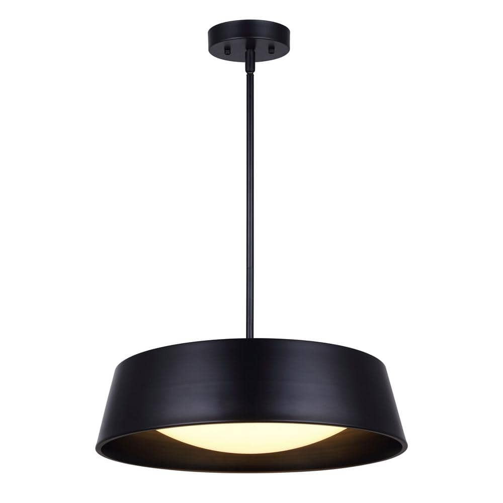 Canarm Jamison 150 Watt Integrated Led Matte Black Chandelier With Acrylic Shade Lch204a17bk The Home Depot