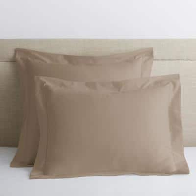 Legends Luxury Solid Cobblestone 500-Thread Count Cotton Sateen Standard Sham