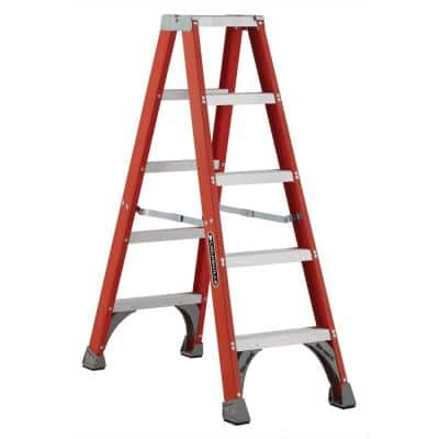5 ft. Fiberglass Twin Step Ladder with 300 lbs. Load Capacity Type IA Duty Rating