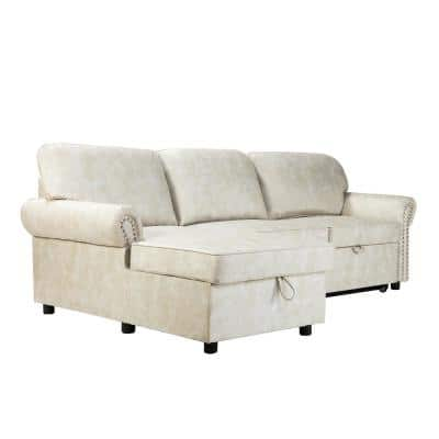 Ysmael Beige Pull Out Sleeper Sectional