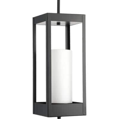 Patewood Collection 1-Light Matte Black Etched Opal Glass Farmhouse Outdoor Hanging Lantern Light