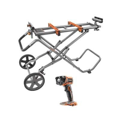Universal Mobile Miter Saw Stand with Mounting Braces and 18V Cordless Torch Light (Tool Only)