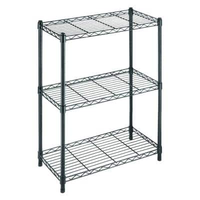 Black 3-Tier Metal Wire Shelving Unit (24 in. W x 30 in. H x 14 in. D)