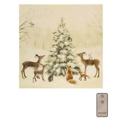 Battery Operated LED Lighted Wall Art - Winter Wildlife