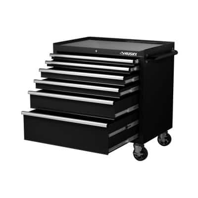 36 in. W 6-Drawer, Deep Tool Chest Cabinet in Gloss Black