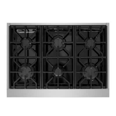 Entree 36 in. Professional Style Liquid Propane Cooktop with 6-Burners in Stainless Steel and Black