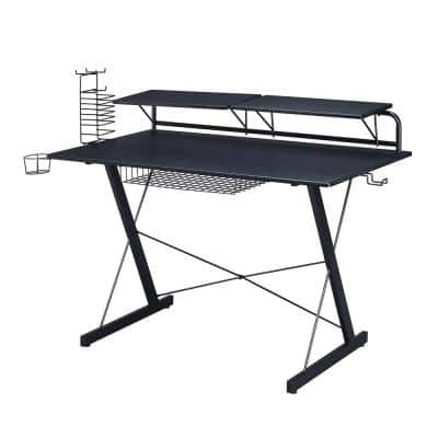48 in. Rectangular Black Computer Desk with Keyboard Tray