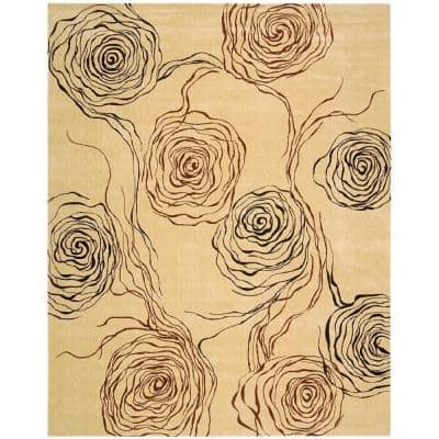 Parallels Ivory 5 ft. x 7 ft. Geometric Glam Area Rug