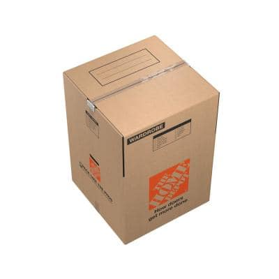 Wardrobe Moving Box with Metal Hanging Bar and Handles (24 in. L x 24 in. W x 34 in. D)