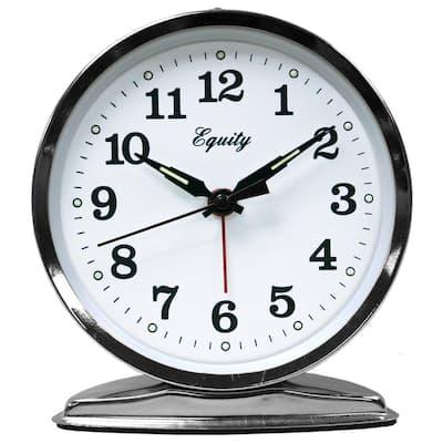 5.50 in. Round Loud Bell Chrome Keywind Analog Alarm Clock