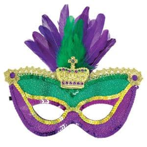 Green, Purple and Gold Sequin Feather Mardi Gras Mask (2-Pack)