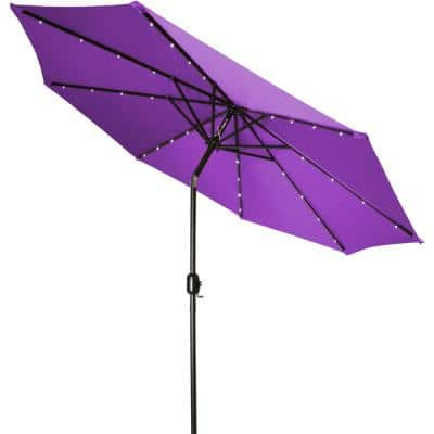 9 ft. Deluxe Solar Powered LED Lighted Patio Umbrella in Purple