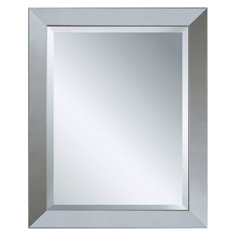 Glacier Bay 28 In X 22 In Framed Mirror In Brushed Nickel 8343 The Home Depot