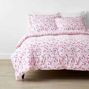 Company Kids Hearts 3-Piece Multicolored Organic Cotton Percale Full Comforter Set