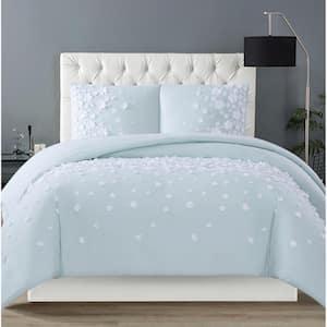 Confetti Flowers 3-Piece Mint Full/Queen Comforter Set