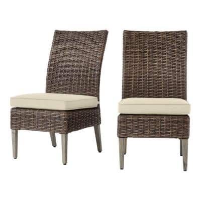 Rock Cliff Brown Stationary Wicker Outdoor Patio Armless Dining Chair with CushionGuard Putty Tan Cushions (2-Pack)