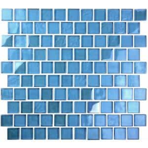 Landscape Danube Blue Square Mosaic 1 in. x 1 in. Glossy Glass Wall Pool and Floor Tile (0.84 Sq. ft.)
