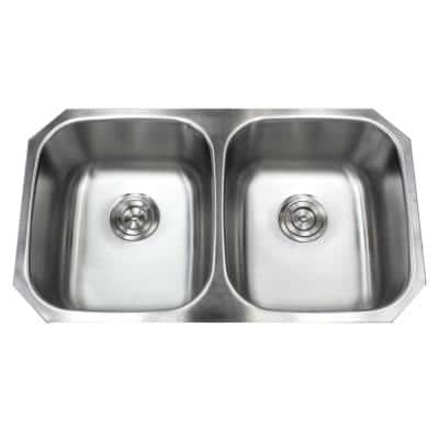 Kingsman Hardware Undermount 18 Gauge Stainless Steel 32 In X 18 1 2 In X 9 In Deep 50 50 Double Bowl Kitchen Sink With Brushed Finish 18 904 The Home Depot