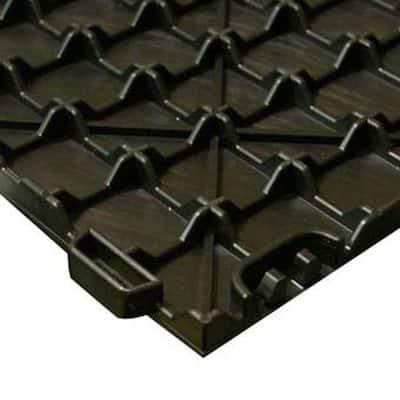 StayLock Orange Peel Top Black 12 in. x 12 in. x 0.56 in. PVC Plastic Interlocking Basement Floor Tile (Case of 26)