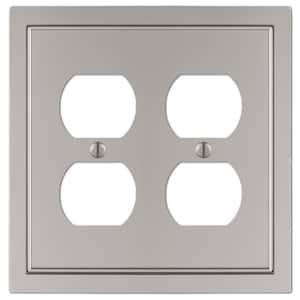Averly 2 Gang Duplex Metal Wall Plate - Satin Nickel