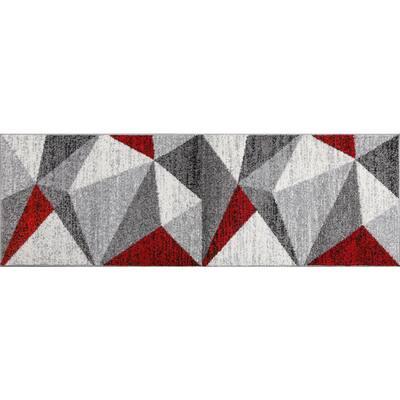 Yaritza Red Geometric 2 ft. x 6 ft. Runner Area Rug