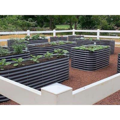 32 in. Extra-Tall 9-In-1 Modular Modern Gray Metal Raised Garden Bed Kit