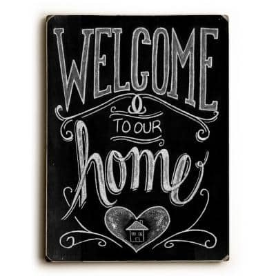 """9 in. x 12 in. """"Welcome"""" by Robin Frost Solid Wood Wall Art"""