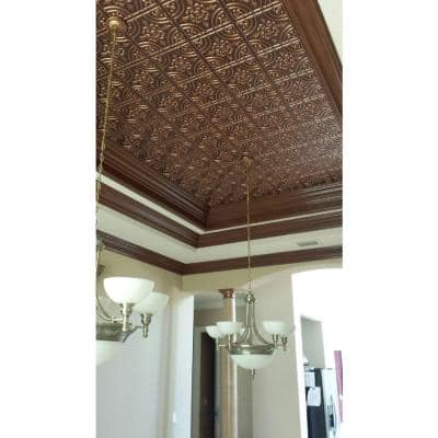 Wrought Iron 2 ft. x 2 ft. Glue Up PVC Ceiling Tile in Antique Copper