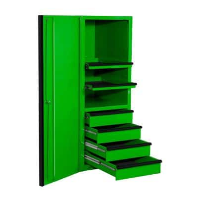 EXQ 24 in. 4-Drawer 2-Shelf Green Professional Side Tool Chest with Black Handles