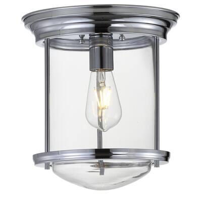 Savannah 10.25 in. Chrome Metal/Glass LED Flush Mount