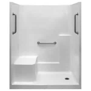 Classic 36 in. x 60 in. x 77 in. 1-Piece Low Threshold Shower Stall in White, Grab Bars, LHS Molded Seat, Right Drain