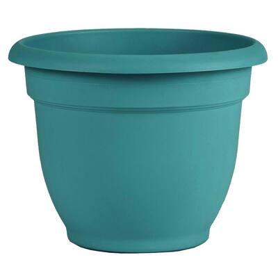 Ariana 11 in. Bermuda Teal Plastic Self-Watering Planter
