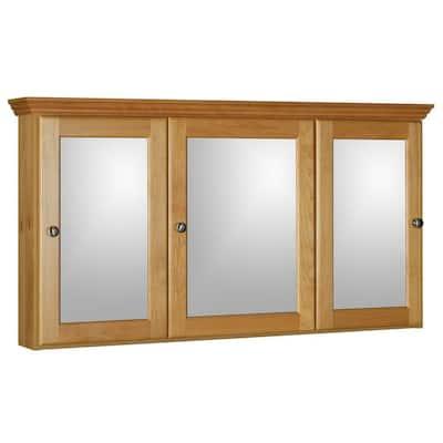 Ultraline 48 in. W x 27 in. H x 6-1/2 in. D Framed Tri-View Surface-Mount Bathroom Medicine Cabinet in Natural Alder