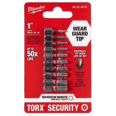 SHOCKWAVE Impact Duty Alloy Steel Torx Security Screw Driver Bit Set (10-Piece)