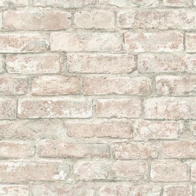 Denver Brick Brown Vinyl Peel & Stick Wallpaper Roll (Covers 28.2 Sq. Ft.)