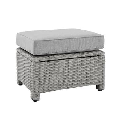 Bradenton Gray Wicker Outdoor Ottoman with Gray Cushion