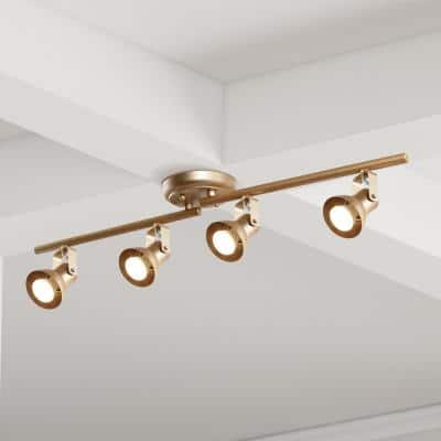 Modern Gold LED Track Lighting 2.4 ft. 4-Light Ceiling Track Lighting Kit with Adjustable Bars and Rotating Track Heads