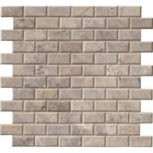 Silver 12 in. x 12 in. x 10 mm Honed Travertine Mosaic Tile (10 sq. ft. / case)